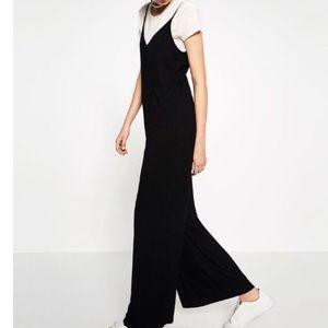 Zara Black Ribbed Jumpsuit